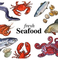 Colorful seafood banner poster design with place vector