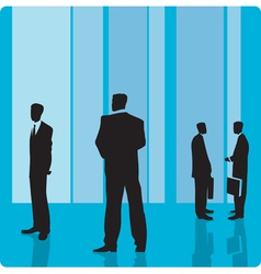 Businessmen in large hall vector
