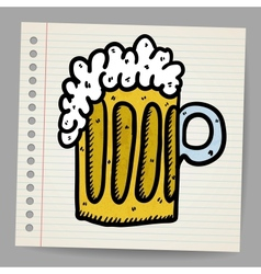 Scribble beer mug vector