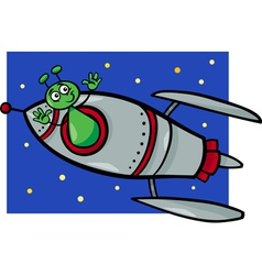 Alien in rocket cartoon vector