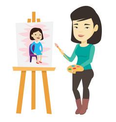 Creative female artist painting portrait vector