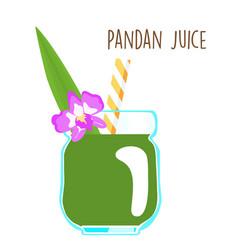 fresh green aromatic pandanus leaf juice vector image