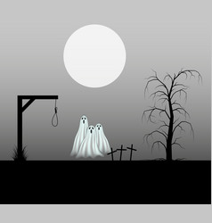 Spooky background with three ghosts vector