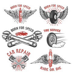 set of tire service car repair labels pistons car vector image