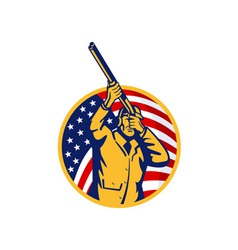 Hunter with shotgun rifle and american flag vector