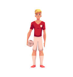 Handsome blond football soccer player in uniform vector