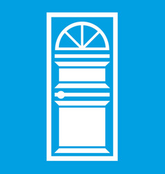 door with an arched glass icon white vector image