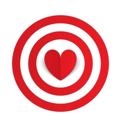 Red paper heart in the center of darts target aim vector