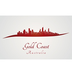 Gold coast skyline in red vector