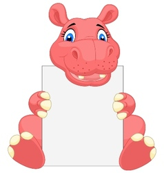 Cute hippo cartoon holding blank sign vector