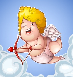Funny little cupid in the clouds vector image