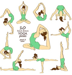 Set of isolated yoga poses vector