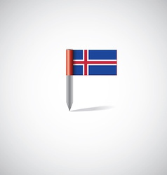 Iceland flag pin vector
