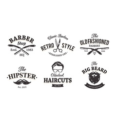 Retro barber emblems vector