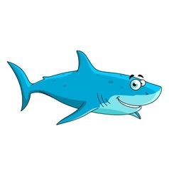 Swimming big shark cartoon character vector