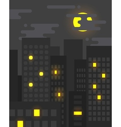 Flat style cityscape at night vector