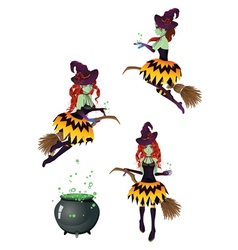 Dark witch with broom5 vector