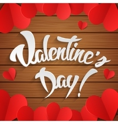 Happy valentines day hand lettering greeting card vector