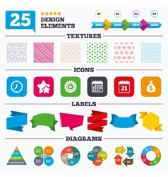 Business signs calendar and usd money bag icons vector