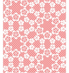 Seamless white lace pattern on red background vector