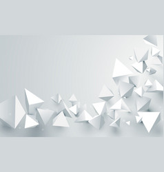 abstract white 3d pyramids chaotic background vector image vector image