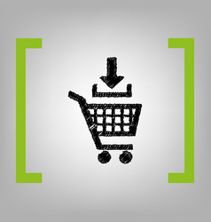 Add to shopping cart sign black scribble vector
