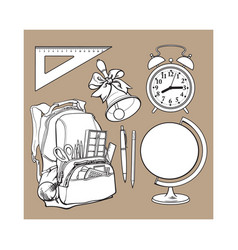 Backpack packed with school items alarm clock vector