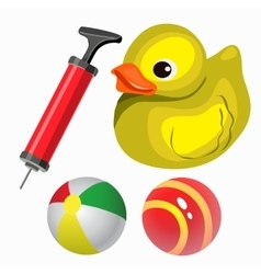 Balls and yellow duck set in cartoon style vector image