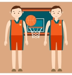 basketball player standing in front of basket ring vector image