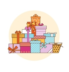 Big Pile Colorful Gift Boxes vector image vector image