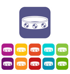 Bracelet with gems icons set flat vector