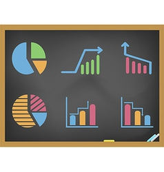 business diagram icons on blackboard vector image vector image