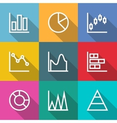 Business outline charts and graph icons vector