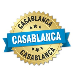 Casablanca round golden badge with blue ribbon vector