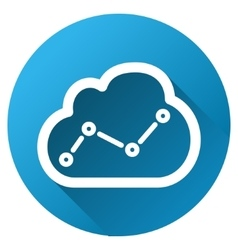 Cloud trend chart gradient round icon vector