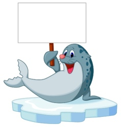 Cute seal cartoon holding blank sign vector image vector image