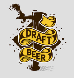 Draft beer tap artistic cartoon tatoo style print vector