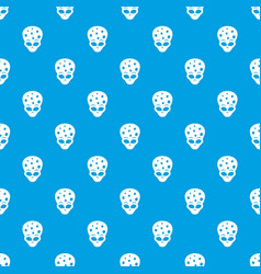 Extraterrestrial alien head pattern seamless blue vector