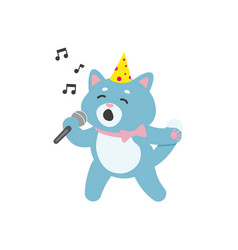 flat cat character singing in microphone vector image vector image