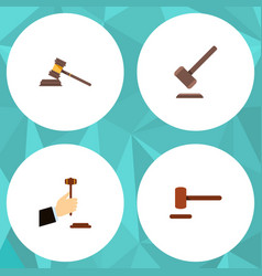 Flat icon court set of tribunal court law and vector