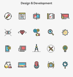 Flat line color icons Design and Development vector image vector image