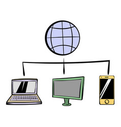 Globe with computers and mobile phone icon cartoon vector