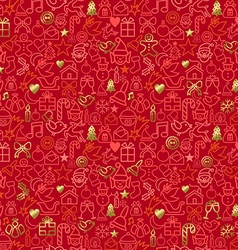 Gold Christmas outline icon seamless pattern vector image vector image