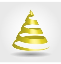 Golden glossy ribbon in a shape of christmas tree vector