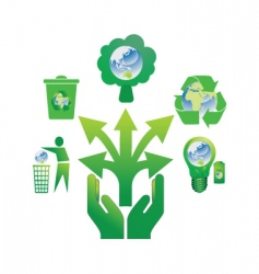 hand holding recycle icons 2 vector image