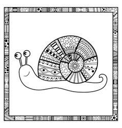Happy snail doodle vector