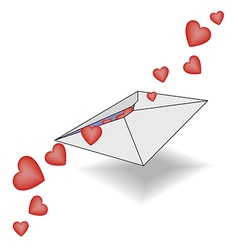 Incoming letter with declarations of love hearts vector