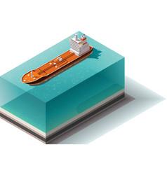 Isometric oil tanker ship vector