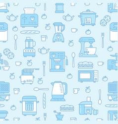 Kitchen utensil small appliances blue seamless vector