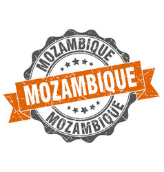 Mozambique round ribbon seal vector